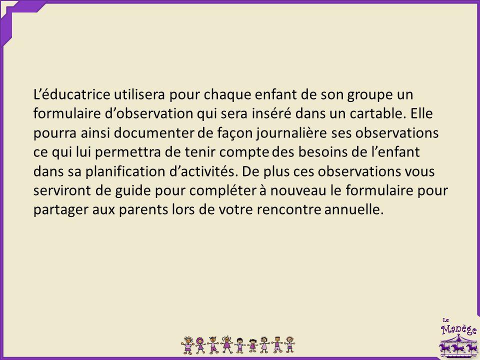 L'éducatrice utilisera pour chaque enfant de son groupe un formulaire d'observation qui sera inséré dans un cartable.