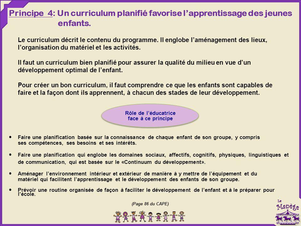 Principe 4: Un curriculum planifié favorise l'apprentissage des jeunes