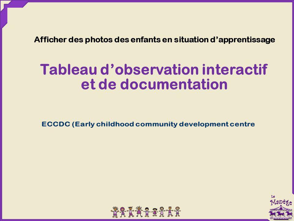 Tableau d'observation interactif et de documentation