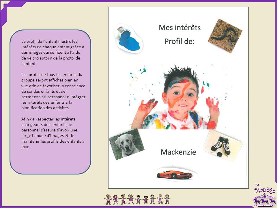 Le profil de l'enfant illustre les intérêts de chaque enfant grâce à des images qui se fixent à l'aide de velcro autour de la photo de l'enfant.
