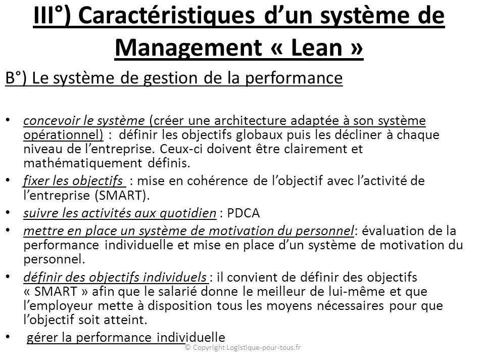 III°) Caractéristiques d'un système de Management « Lean »