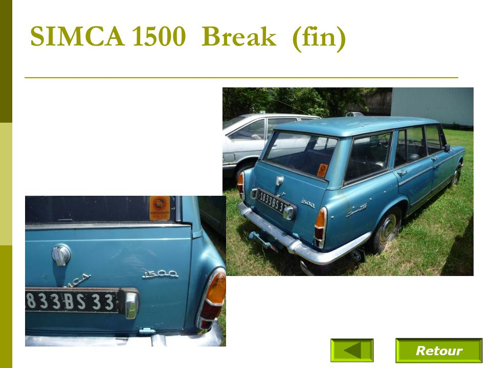 SIMCA 1500 Break (fin) Retour