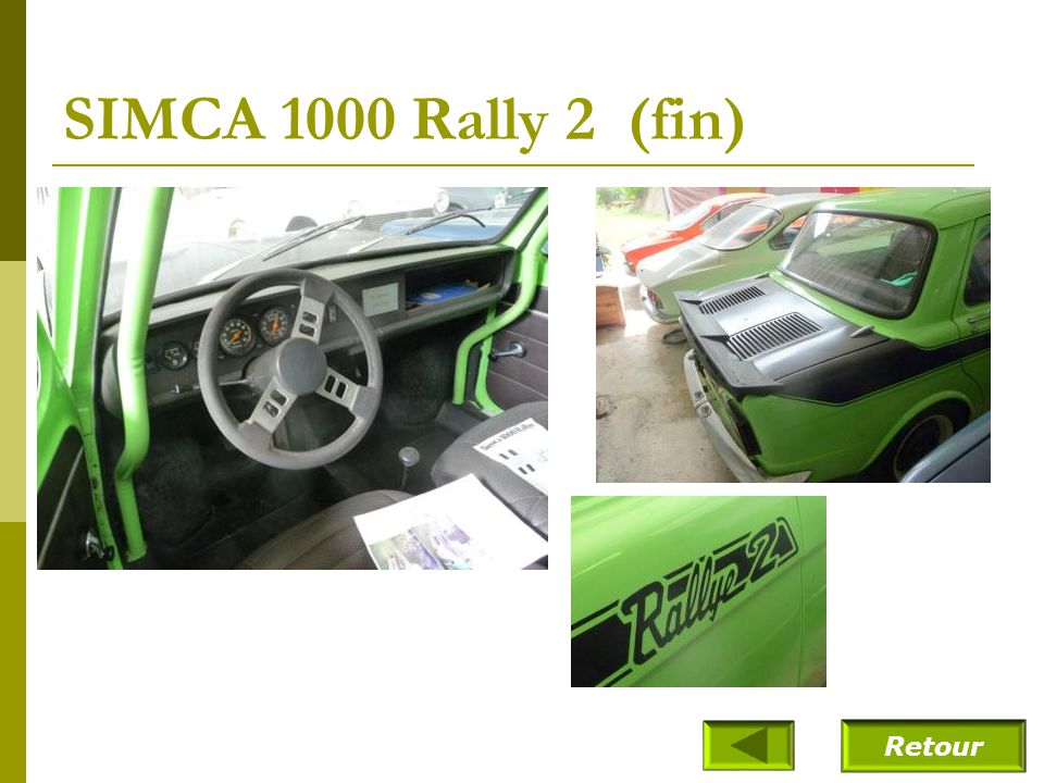 SIMCA 1000 Rally 2 (fin) Retour