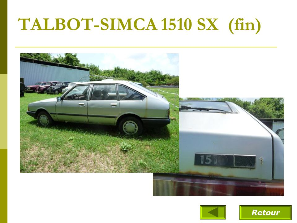 TALBOT-SIMCA 1510 SX (fin) Retour