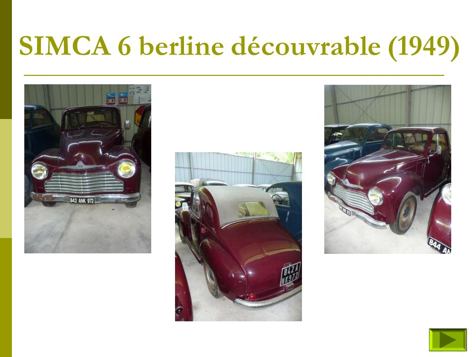 SIMCA 6 berline découvrable (1949)