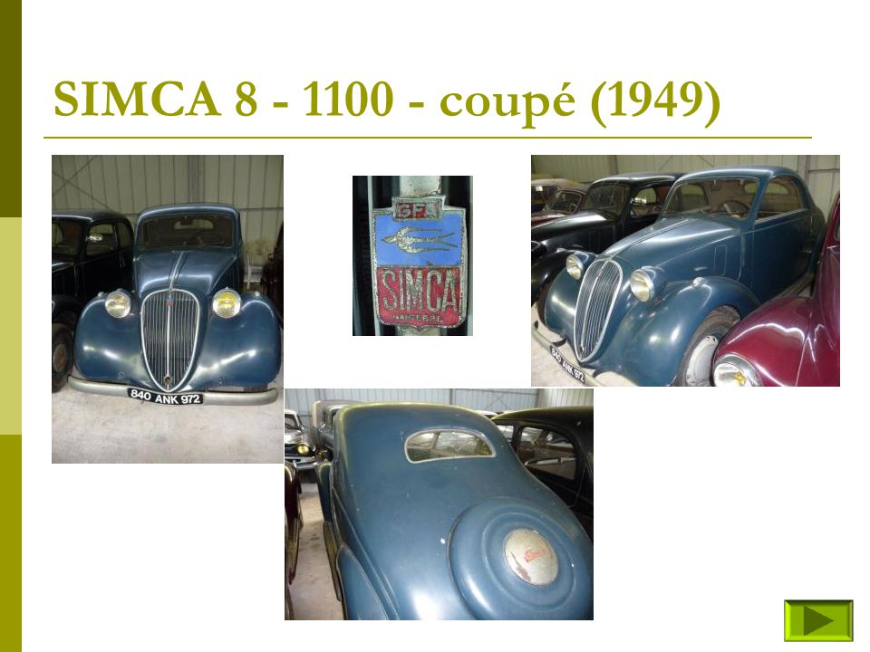 SIMCA 8 - 1100 - coupé (1949)