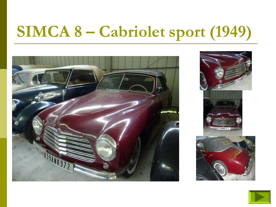 SIMCA 8 – Cabriolet sport (1949)