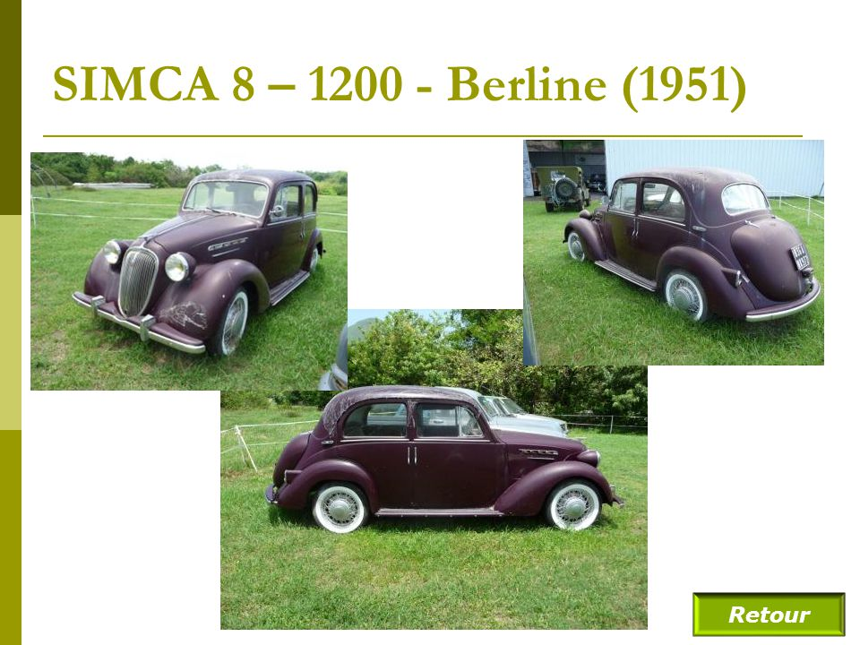 SIMCA 8 – 1200 - Berline (1951) Retour
