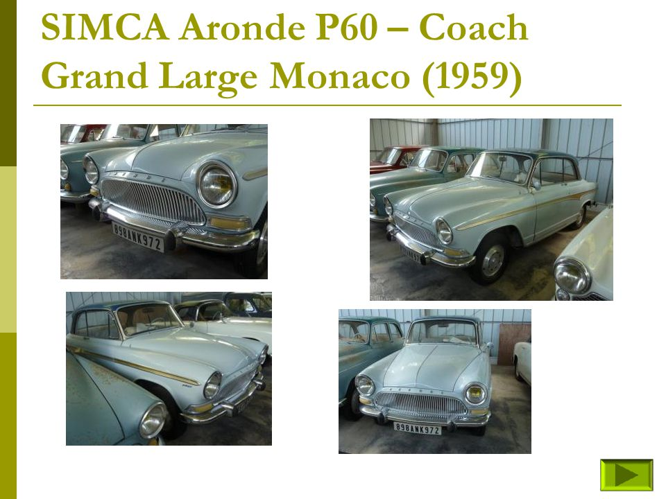 SIMCA Aronde P60 – Coach Grand Large Monaco (1959)