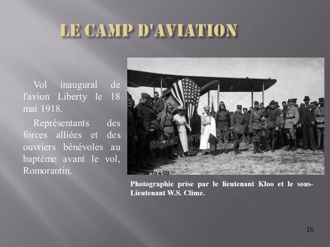 Le camp d aviation Vol inaugural de l avion Liberty le 18 mai 1918.