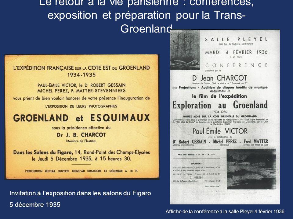 Le retour à la vie parisienne : conférences, exposition et préparation pour la Trans-Groenland