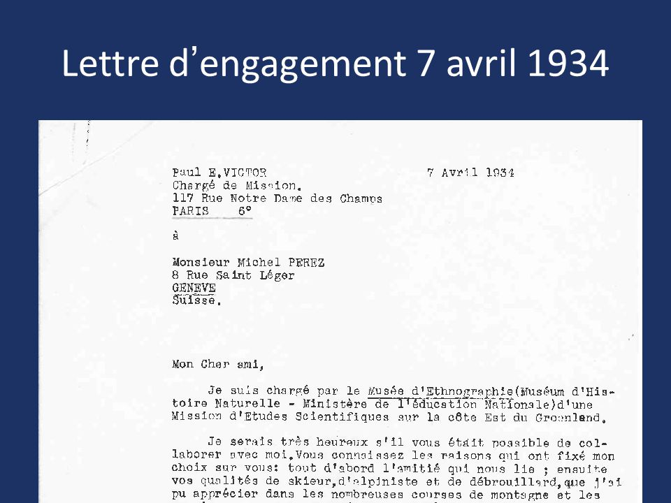 Lettre d'engagement 7 avril 1934