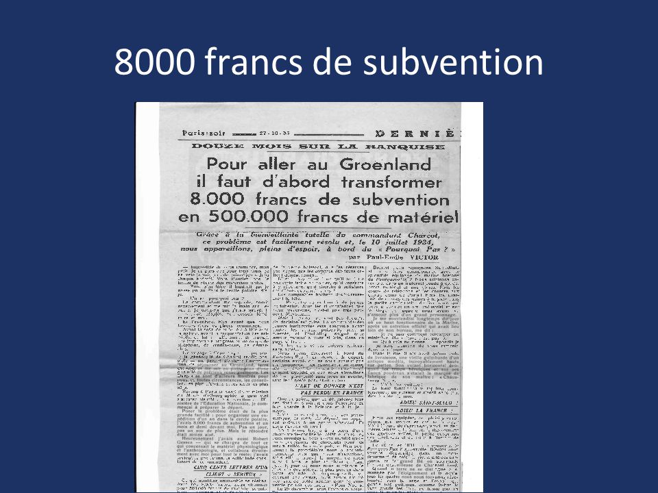 8000 francs de subvention