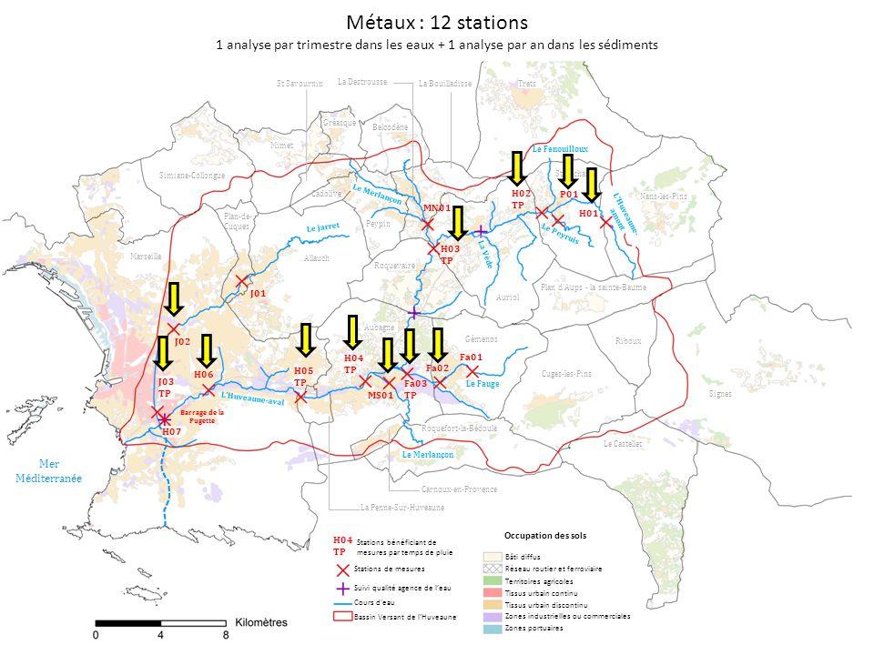 Métaux : 12 stations 1 analyse par trimestre dans les eaux + 1 analyse par an dans les sédiments. St Savournin.