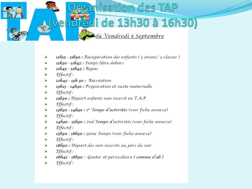 Organisation des TAP (vendredi de 13h30 à 16h30)