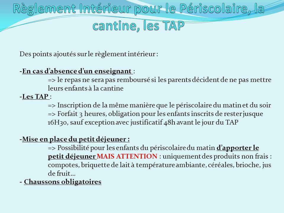 Règlement Intérieur pour le Périscolaire, la cantine, les TAP