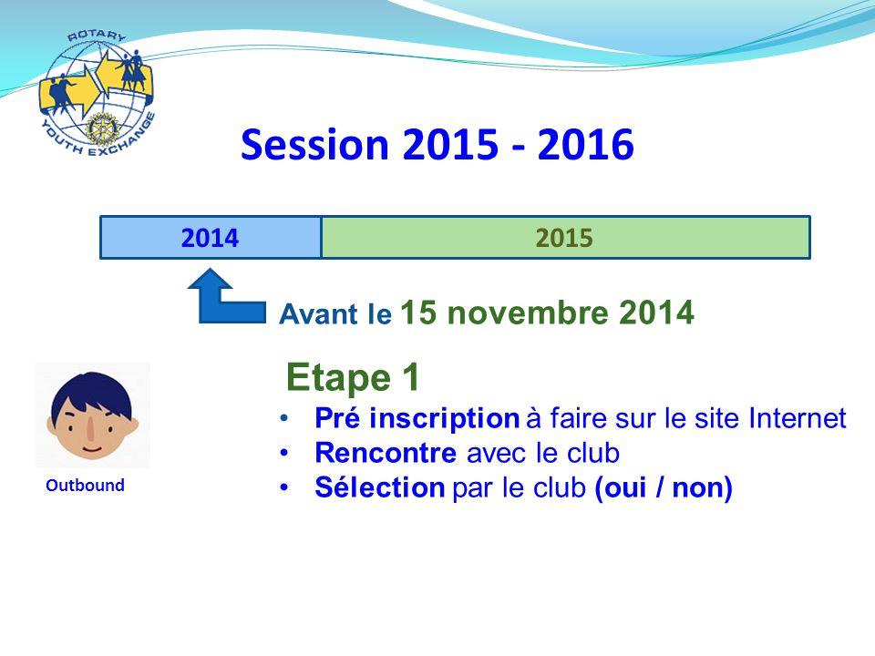 Session 2015 - 2016 2014 2015 Avant le 15 novembre 2014