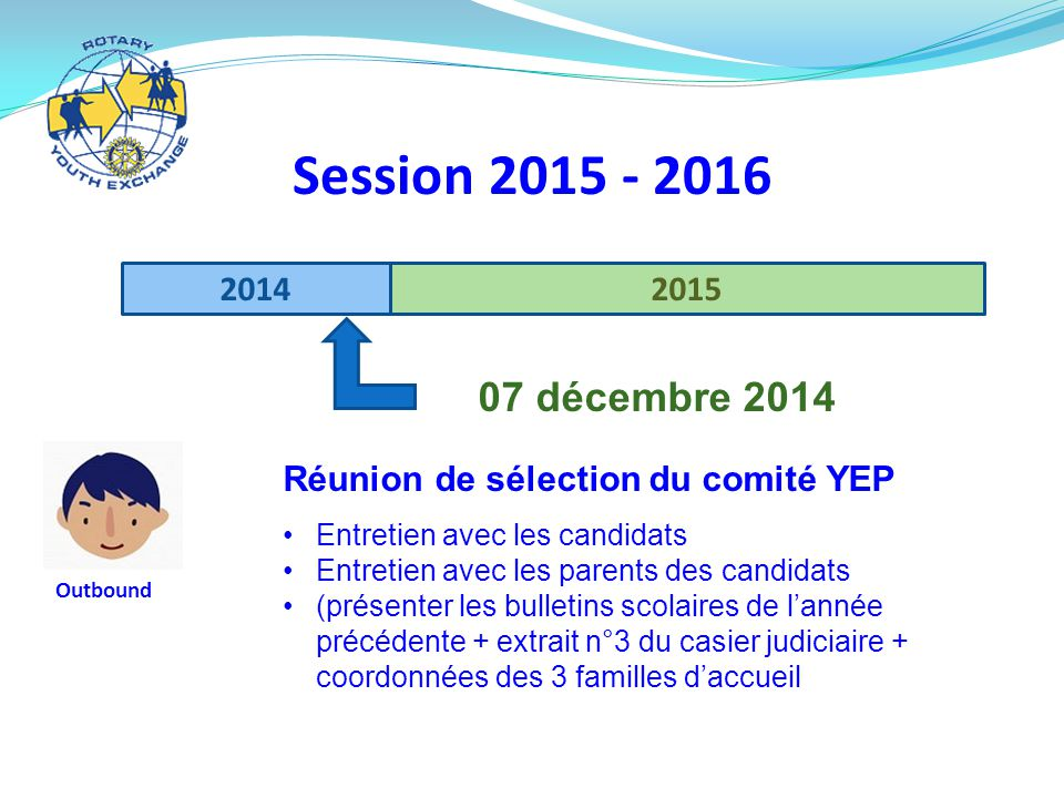 Session 2015 - 2016 2014. 2015. 07 décembre 2014. Réunion de sélection du comité YEP. Entretien avec les candidats.