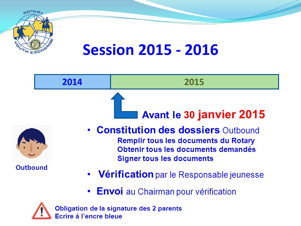 Session 2015 - 2016 2014 2015 Avant le 30 janvier 2015