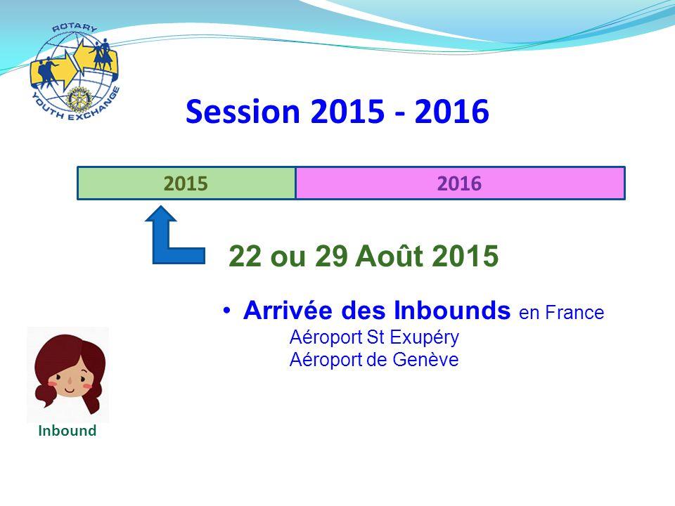 Session 2015 - 2016 Arrivée des Inbounds en France 2015 2016