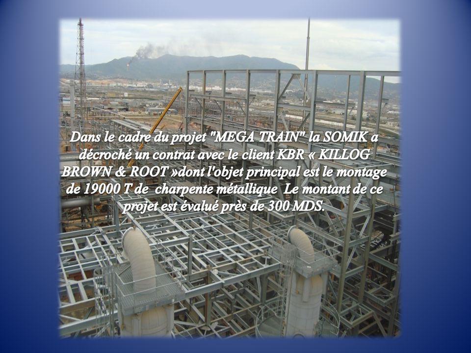 Dans le cadre du projet MEGA TRAIN la SOMIK a décroché un contrat avec le client KBR « KILLOG BROWN & ROOT »dont l objet principal est le montage de 19000 T de charpente métallique Le montant de ce projet est évalué près de 300 MDS.