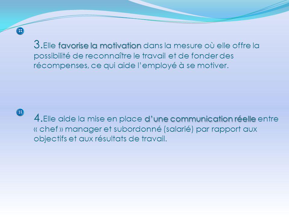 3.Elle favorise la motivation dans la mesure où elle offre la possibilité de reconnaître le travail et de fonder des récompenses, ce qui aide l'employé à se motiver.