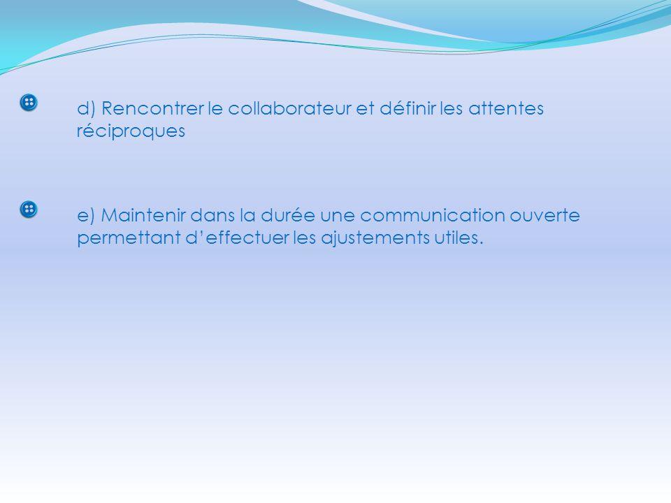 d) Rencontrer le collaborateur et définir les attentes réciproques