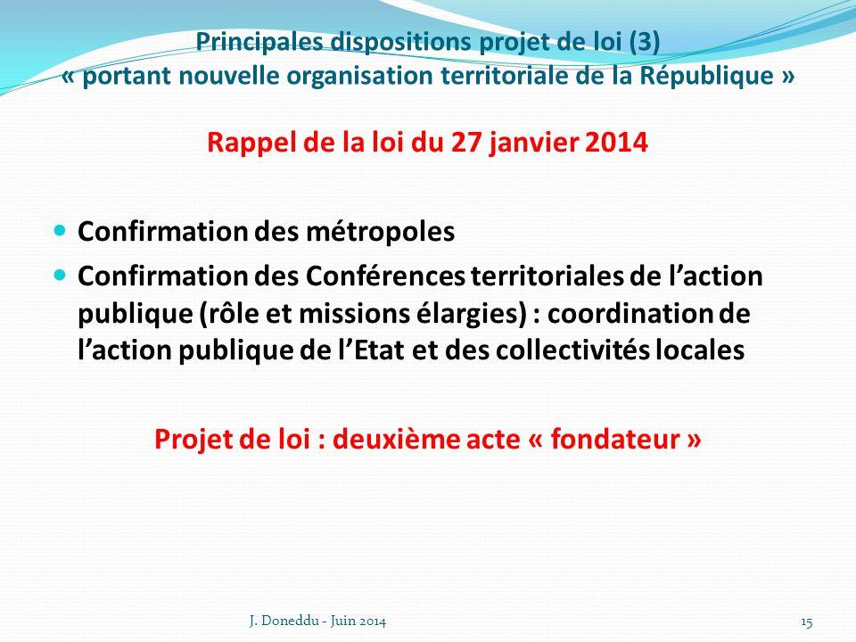 Rappel de la loi du 27 janvier 2014 Confirmation des métropoles