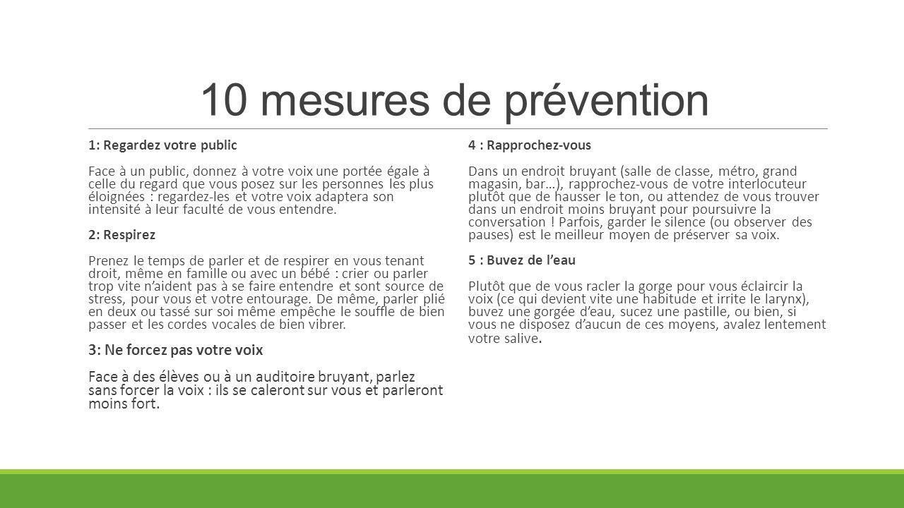 10 mesures de prévention 3: Ne forcez pas votre voix