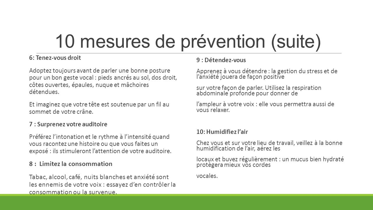 10 mesures de prévention (suite)