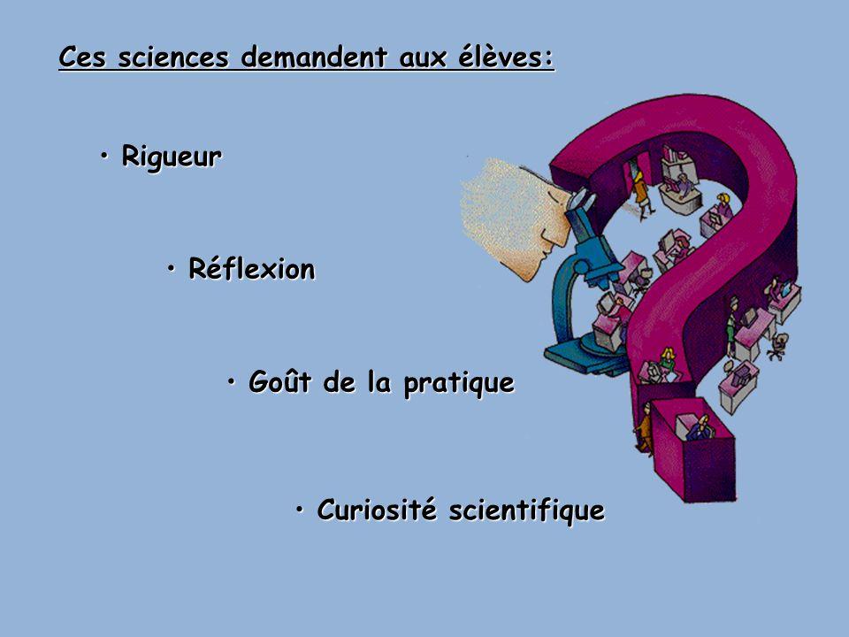 Ces sciences demandent aux élèves: