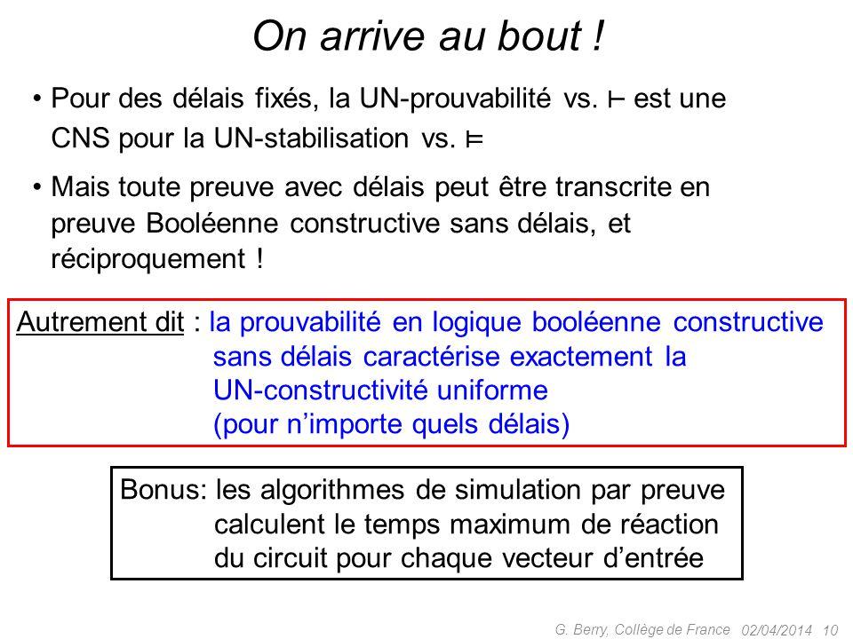 On arrive au bout ! Pour des délais fixés, la UN-prouvabilité vs. ⊢ est une CNS pour la UN-stabilisation vs. ⊨