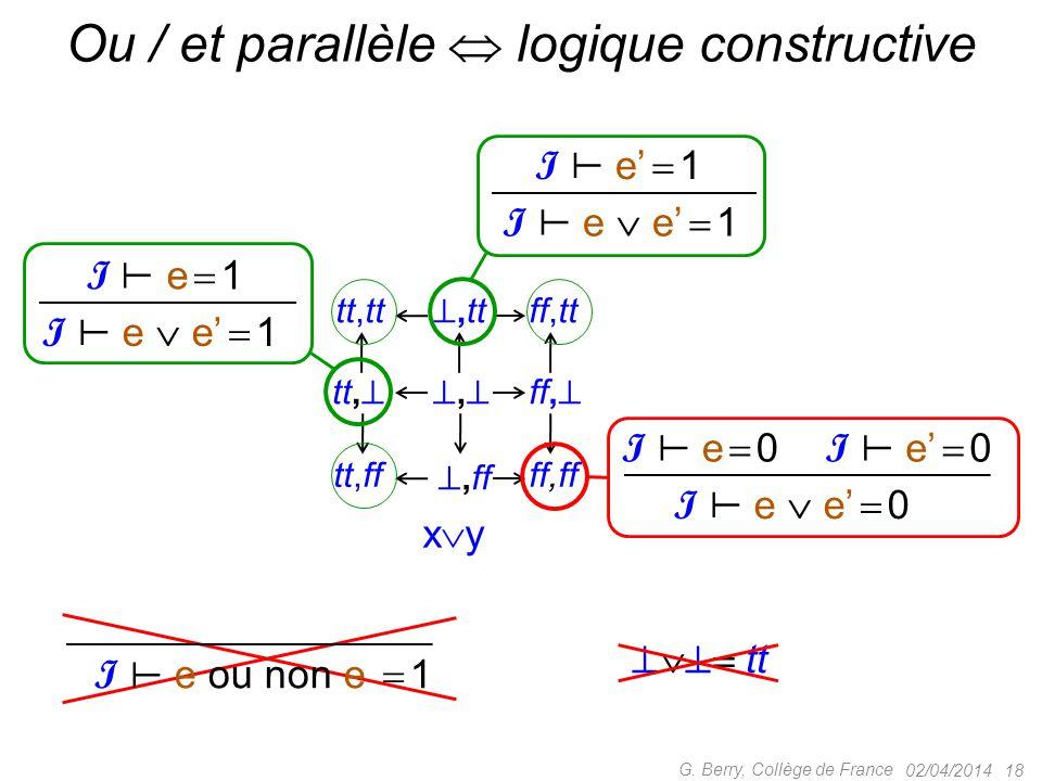 Ou / et parallèle  logique constructive