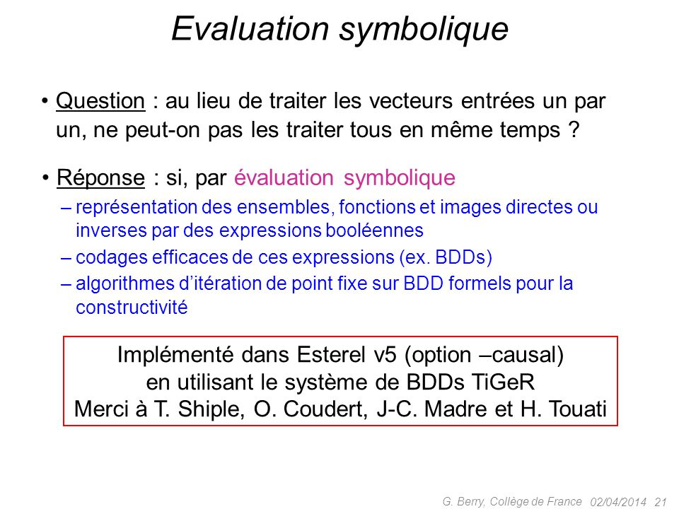 Evaluation symbolique