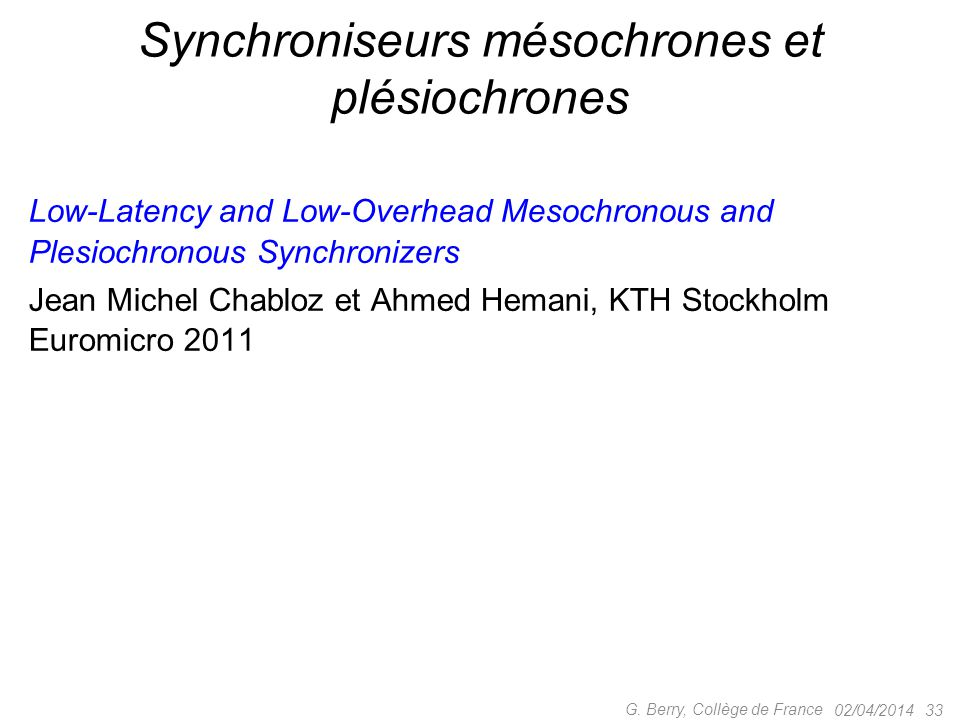 Synchroniseurs mésochrones et plésiochrones