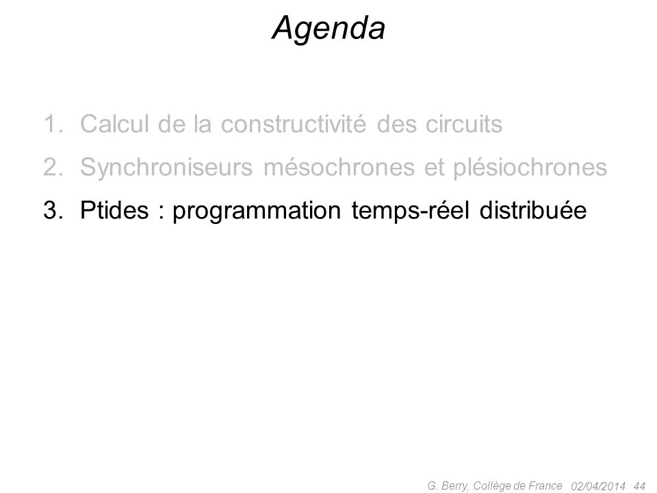 Agenda Calcul de la constructivité des circuits