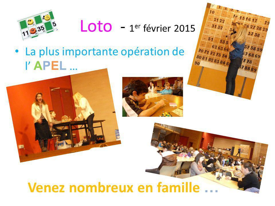 Loto - 1er février 2015 Venez nombreux en famille …