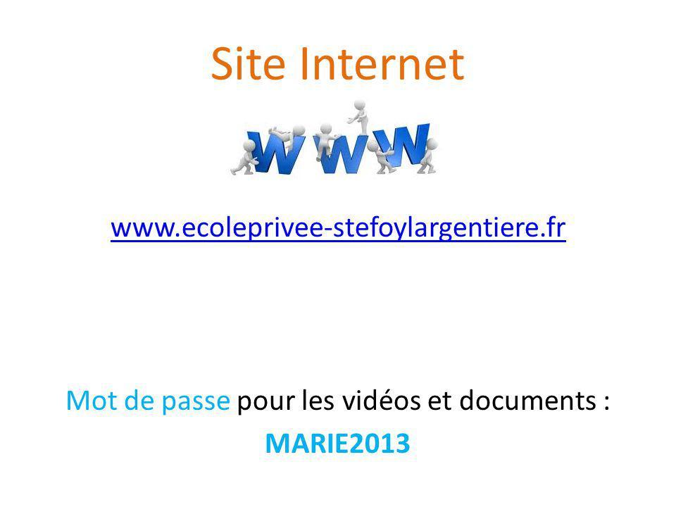 Mot de passe pour les vidéos et documents :