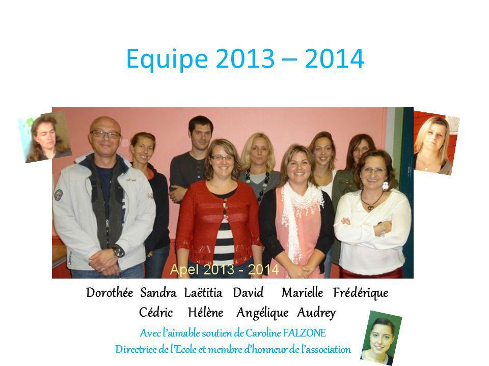 Equipe 2013 – 2014 Manque Fred. Dorothée Sandra Laëtitia David Marielle Frédérique Cédric Hélène Angélique Audrey.