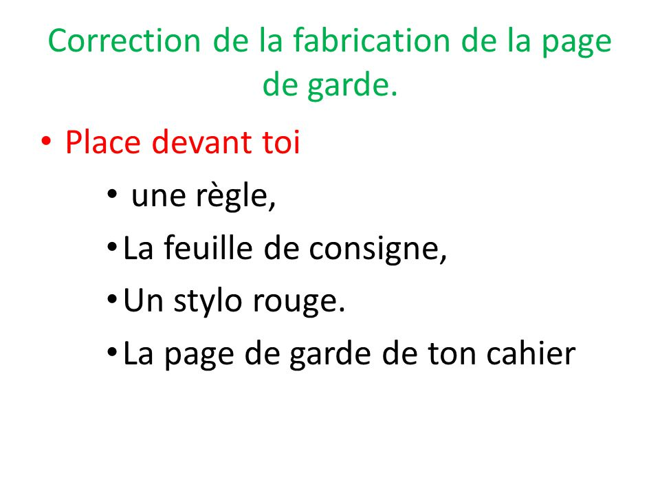 Correction de la fabrication de la page de garde.