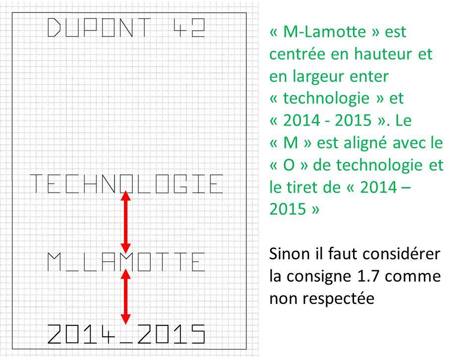 « M-Lamotte » est centrée en hauteur et en largeur enter « technologie » et « 2014 - 2015 ». Le « M » est aligné avec le « O » de technologie et le tiret de « 2014 – 2015 »