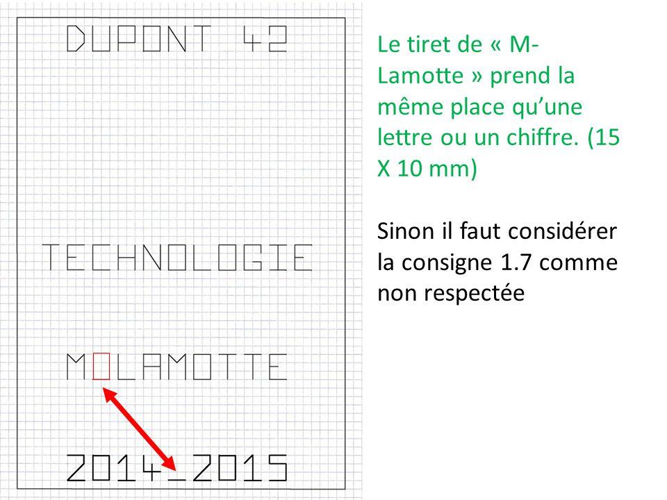Le tiret de « M-Lamotte » prend la même place qu'une lettre ou un chiffre. (15 X 10 mm)