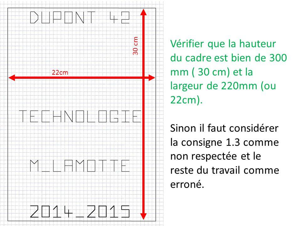 Vérifier que la hauteur du cadre est bien de 300 mm ( 30 cm) et la largeur de 220mm (ou 22cm).