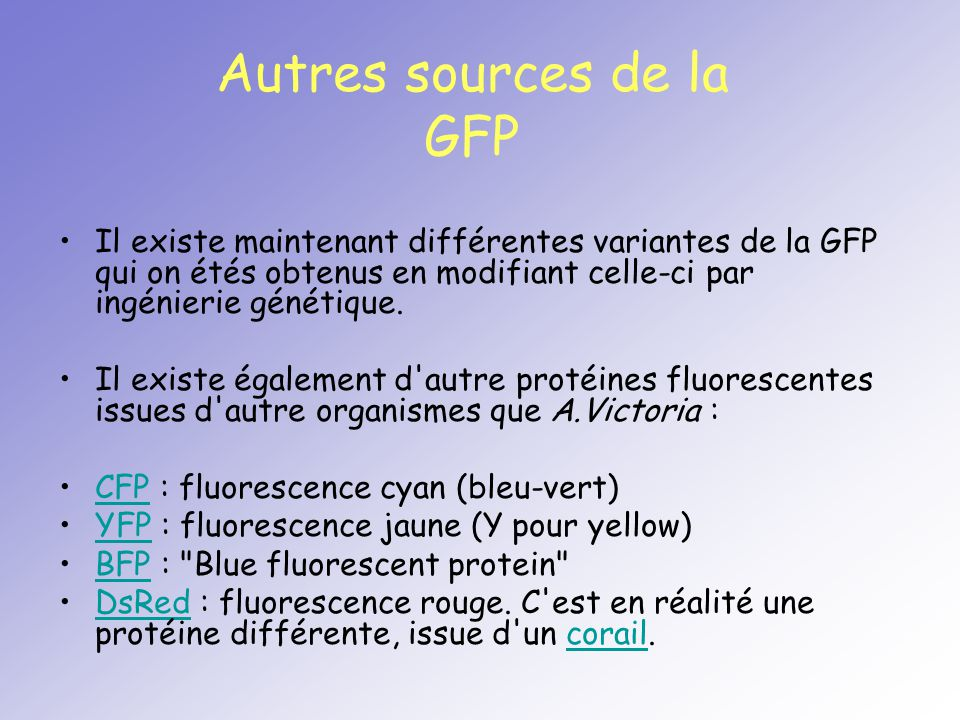 Autres sources de la GFP