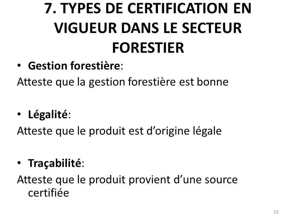 7. TYPES DE CERTIFICATION EN VIGUEUR DANS LE SECTEUR FORESTIER