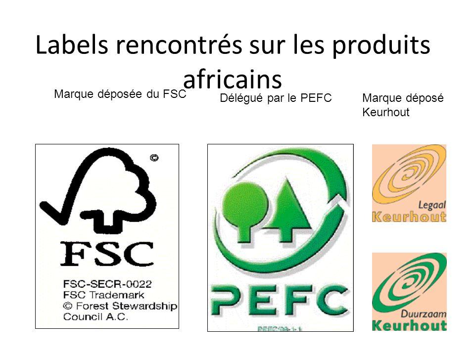 Labels rencontrés sur les produits africains