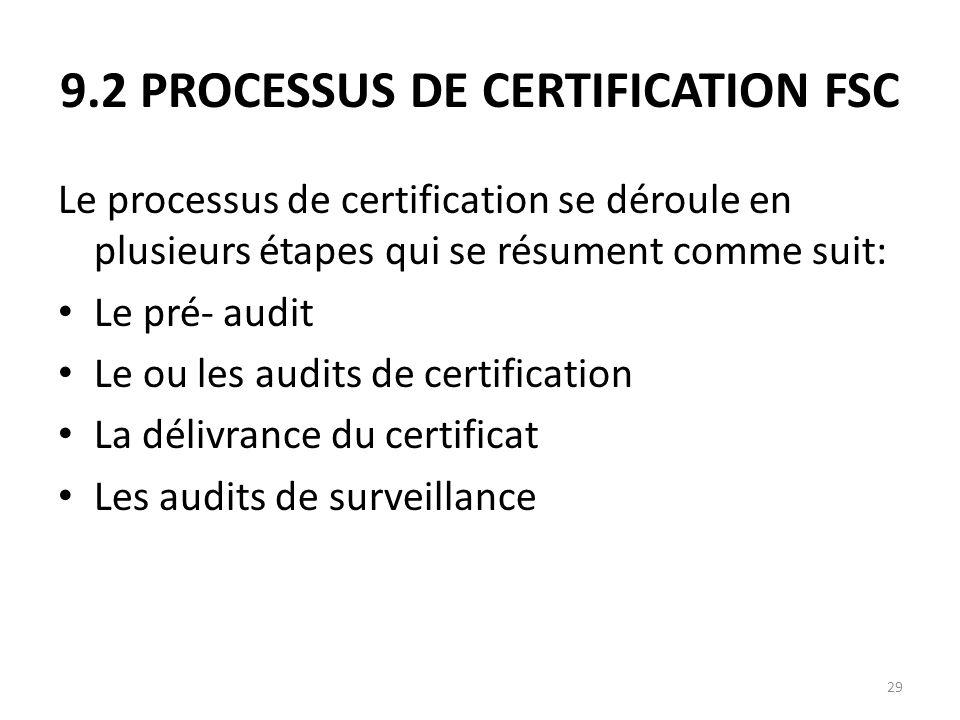 9.2 PROCESSUS DE CERTIFICATION FSC
