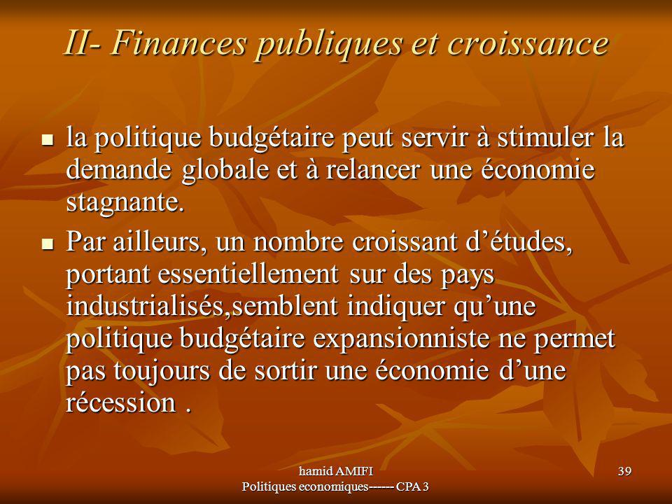 II- Finances publiques et croissance