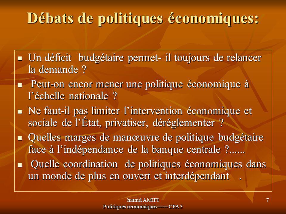Débats de politiques économiques: