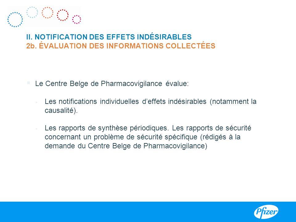 Le Centre Belge de Pharmacovigilance évalue: